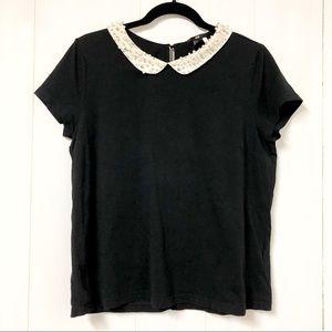 H&M Black Short Sleeve Top w Beaded White Collar